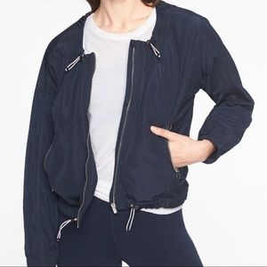 Athleta Chill Bomber Adjustable Zip Up Navy Large